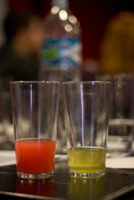 À esquerda água de coco com corante vermelho; à direita extrato de lúpulo